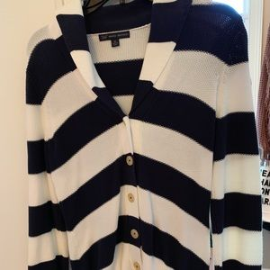 Ladies navy & white Cardigan